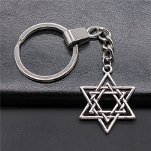 Keyring Pendants Key-Chain Charms David Star Silver-Color Women for 33x26mm of of