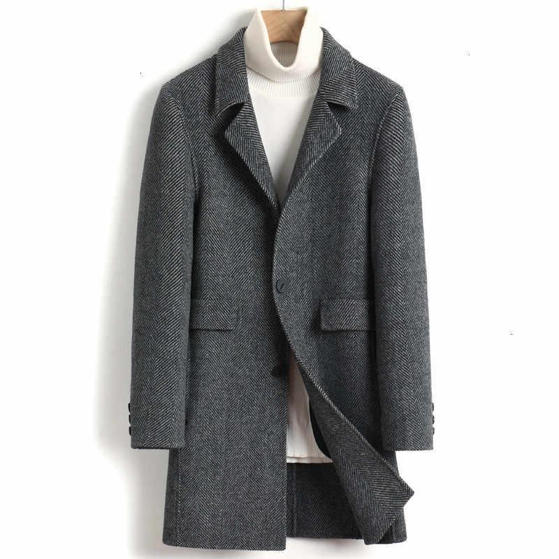 2020 New Wool Coat Men Autumn Winter Woolen Jacket Men Long Overcoat Mens Coats and Jackets Abrigo Hombre 4525 KJ3622