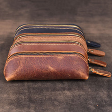 Vintage Handmade Cowhide Pencil Case Genuine Leather Pencilcase Pen Bag Retro Style Zipper Pen Case for Stationery Gift 2019 New