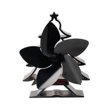 5 Blade Christmas Tree Shape Heat Powered Stove Fan Aluminium Eco-Friendly Wood Log Burner Fireplace Stove Fan