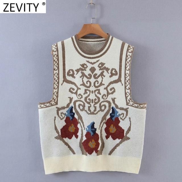 Zevity Women Vintage Totem Flower Pattern Sleeveless Vest Female Retro National Style Patchwork Casual Jacquard WaistCoat S617 3