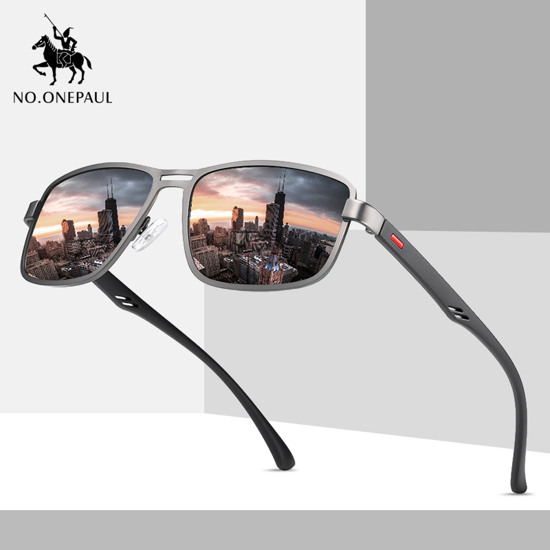NO.ONEPAUL Brand NEW Fashion Sunglasses Men UV400 Polarized Square Metal Frame Male Sun Glasses Fishing Driving Sunglasses