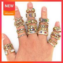 Изысканное женское золотое кольцо с кубическим цирконием регулируемое Радужное кольцо с разноцветным кристаллом в форме сердца медное кол...