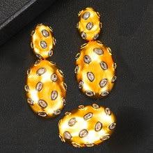 GODKI 2019 טרנדי קסמי דובאי הצהרת עגיל טבעת תכשיטי סטים לנשים זהב מעוקב Zirconia עגילי חתונת תכשיטי סט