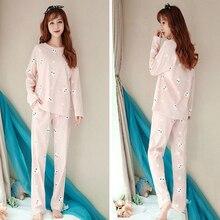 Long Sleeved Pajama Sweet Bunny Print Cute Rabbite Autumn Women Lovely Cotton Top Pants Sleepwear Set