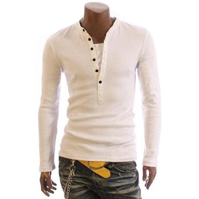 2020 Fashion T-Shirt Men Cotton T Shirt Full Sleeve Tshirt Men Solid Color T-shirts Tops&Tees Mandarin Collar Long Shirt Button