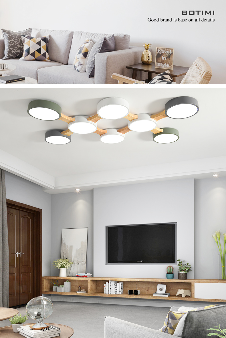 H179b9c882c374ce4b34cd9393e9b4d5bz BOTIMI 220V LED Ceiling Lights With Round Metal Lampshade For Living Room Modern Surface Mounted Ceiling Light Wood Bedroom Lamp