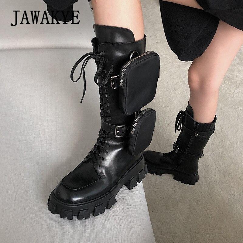 JAWAKYE Nieuwe Dikke bodem mid calf korte laarzen Vrouwen lace up Rits met pocket Lange Laarzen Zwart Winter motorlaarzen vrouw - 6