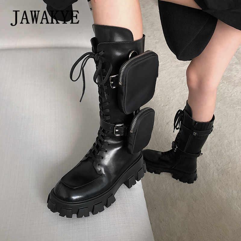 JAWAKYE yeni kalın alt orta buzağı kısa çizmeler kadın lace up fermuar cep uzun çizmeler siyah kışlık motosiklet botları kadın