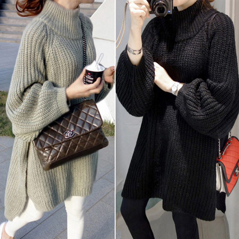 New Autumn Winter Long Sweater Women Lantern Sleeve Side Slit Half Turtleneck Sweaters Pullovers Oversized Pull Clothes Clothing