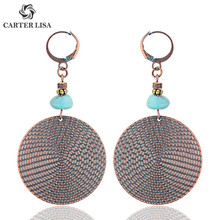 CARTER LISA Afghan India Round Shape Stone Statement Earring Drop Pendientes Hippie Tribal Egypt Nepal Gypsy Oorbellen Jewelry(China)