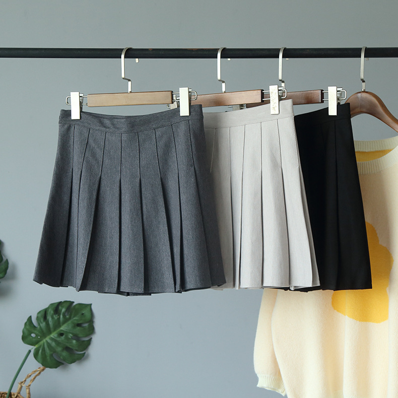 Autumn and Winter New College Style Solid High Waist Pleated Skirt Women's Anti Walk Skirt Women