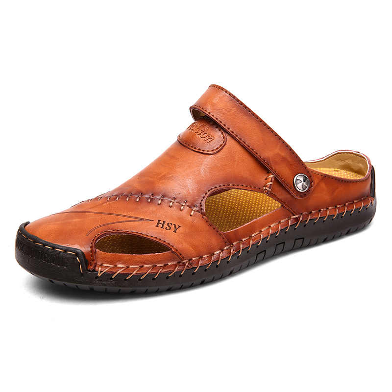 Yaz deri sandalet erkekler açık plaj sandaletleri düz rahat moda erkek nefes su trekking ayakkabıları 2019 büyük boy