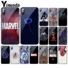 Yinuoda marvel vingadores logotipo homem de ferro spiderman vidro temperado caso de telefone para iphone 11 pro xr xs max 8x7 6 s 6 plus(China)