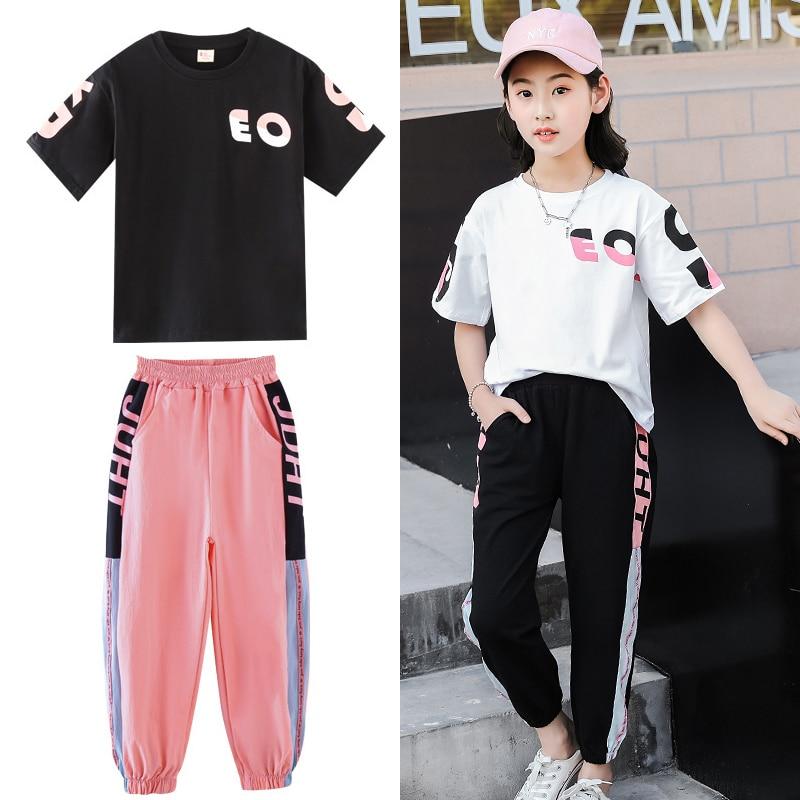 Meninas roupas 2020 verão manga curta camisas + calças ternos crianças roupas esportivas adolescentes conjuntos de roupas 5 6 7 8 9 10 12 anos