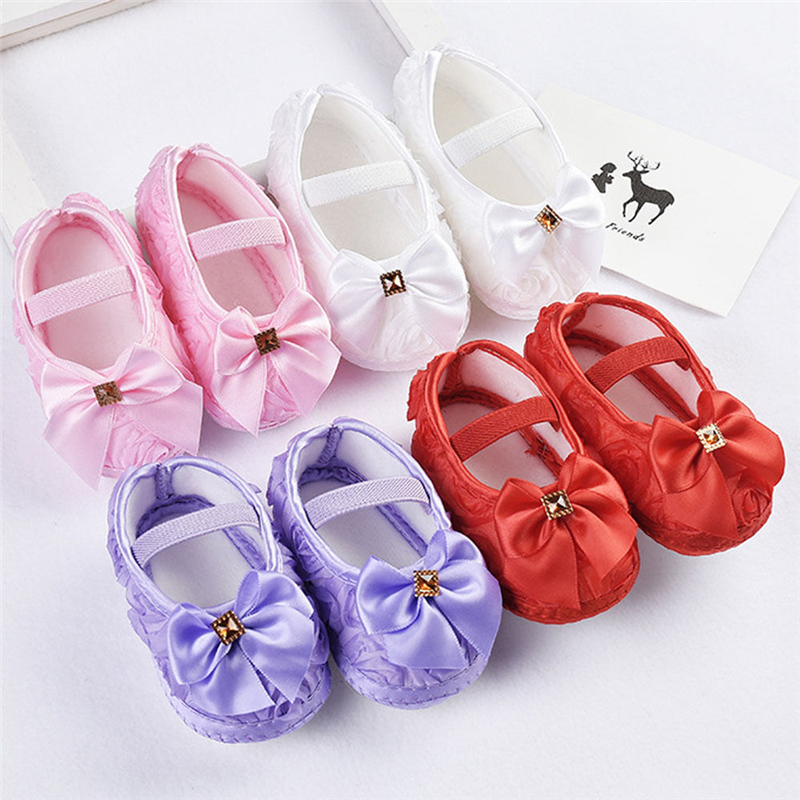 Lace Baby Shoes Square Shoes Newborn Infant Baby Girl Bowknot Non-Slip Lace Flower Baby Shoes Soft Sneaker