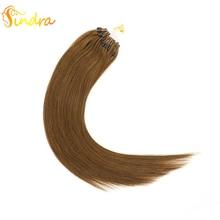 """Sindra 1""""-24"""" 50 100 г микро кольцо человеческие волосы для наращивания цвет 4 настоящие Remy человеческие волосы микро кольца"""