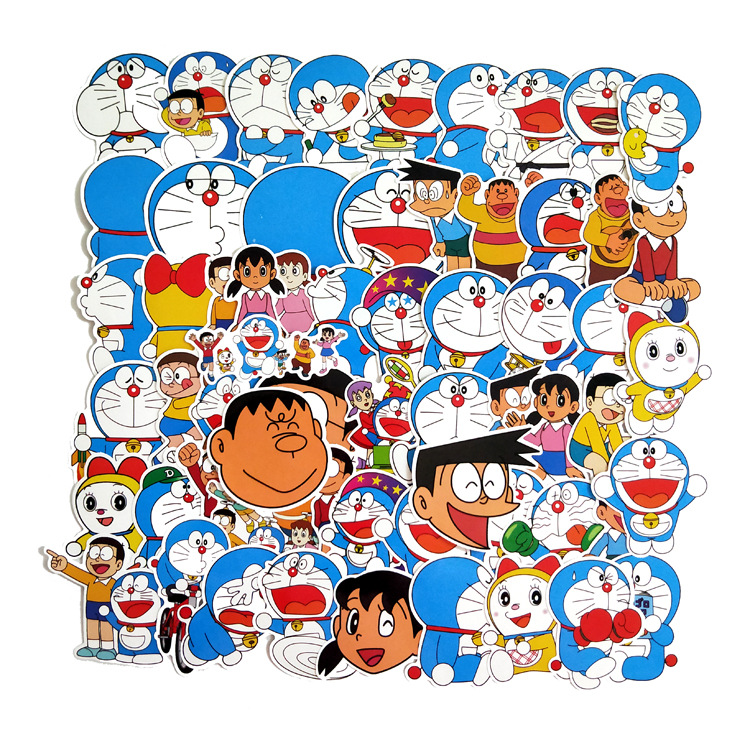 50Pcs/pack Doraemon Stickers For Laptop Mouse Motorcycle Skateboard Luggage Guitar Cute Style Stickers