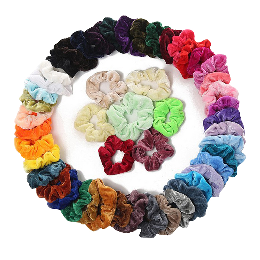 50-Pack Velvet Elastics Bobbles Hair Bands Colorful Hair Tie Ropes Scrunchie  Lovely Satin Hair Bands Bright Color Hair Band