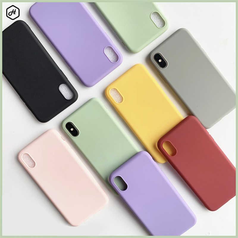 สำหรับiPhone SE 2 2020 8สีซิลิโคนซอฟท์ซิลิโคนสำหรับโทรศัพท์iPhone 11 Pro X XS Max 7 8 6 6S Plus SE 2 2020กรณีหรูหรา