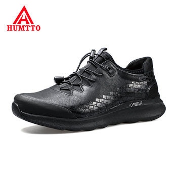 High Quality Genuine Leather Hiking Shoes Men Elastic Band Outdoor Sneakers Soft Non-slip Light Trekking Sports Shoes for Male