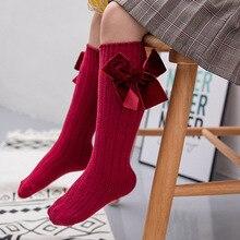 6 цветов, носки для маленьких девочек милые носки хлопковые длинные вечерние носки с бантиком, мягкие теплые носки для малышей
