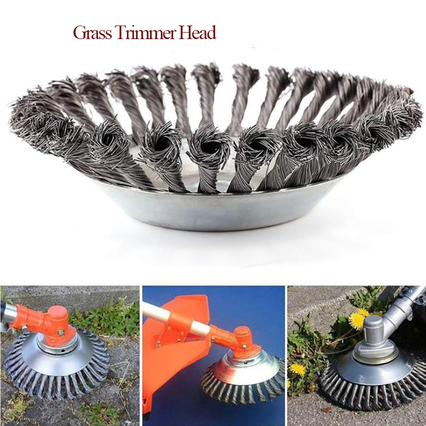Grass Trimmer Head Twist Knot Brush, Lawn Mower Steel Wire Wheel Brush Disc, Garden Tools For Replacing The Head Of A Lawn Mow