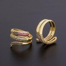 En kaliteli yeni altın renk çok katmanlı ayarlanabilir yüzükler kadınlar için bakır kübik zirkonya moda yığını parmak yüzük takı hediyeler