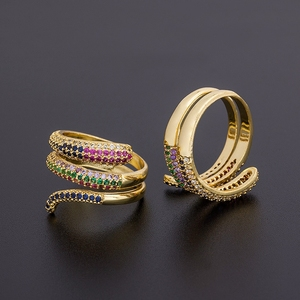 Top Quality New Gold Color Multilayer Adjustable Rings For Women Copper Cubic Zirconia Trendy Stack Finger Ring Jewelry Gifts
