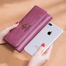 Fashion New 2019 Ladies Genuine Leather Wallet Women Luxury Hasp Purse Long Vintage Cow Leather Clutch Phone Wallets free shipping new fashion brand women s long wallets ladies money pack coins phone bag purse 100% genuine cow leather wholesale