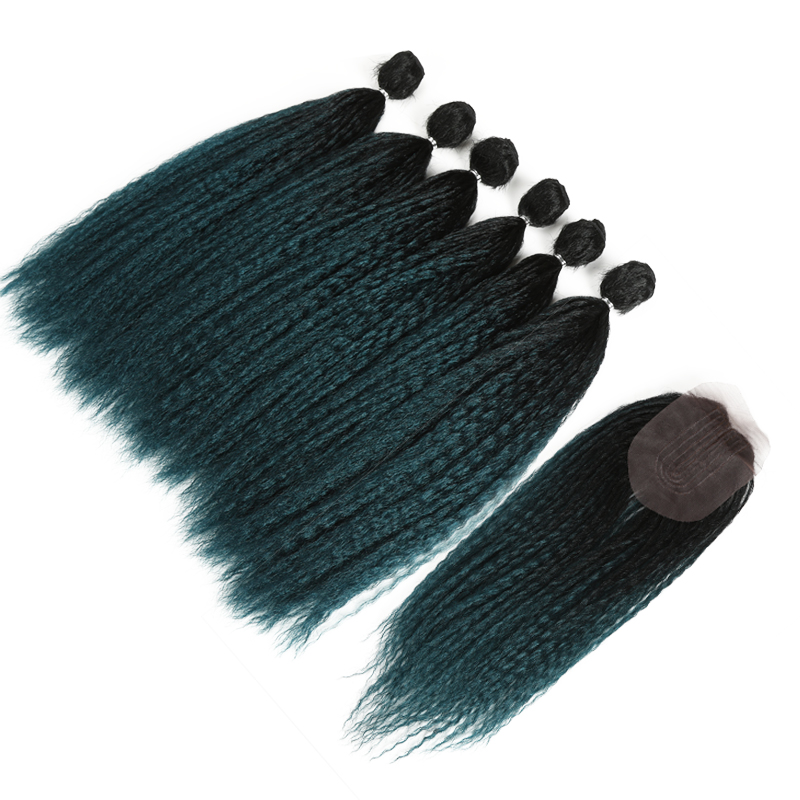 Afro Kinky Straight Hair For Black Women Weave 6 Bundles With Closure Ombre Teal Synthetic Hair Extension 7pcs/Lot Classic Plus