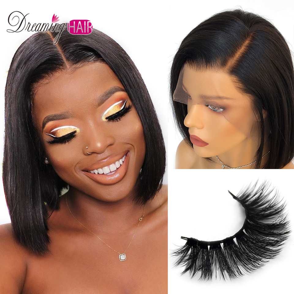 13x6 Short Bob Lace Front Human Hair Wigs Straight Hair Lace Frontal Wig Brazilian Remy Hair Wig Bob Wig For Black Women 180%