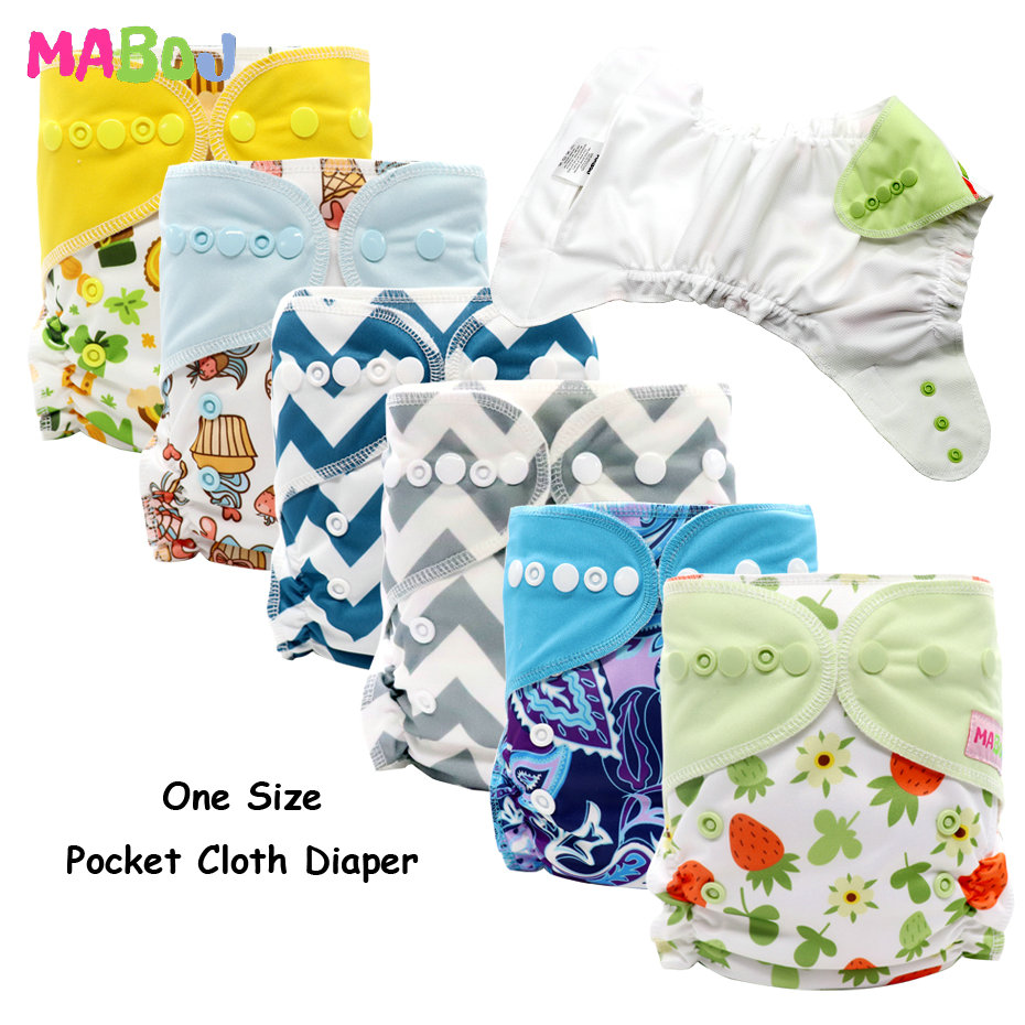 MABOJ Cloth Diapers Baby Pocket Diaper Nappy One Size Pocket Nappy Washable Reusable Diapers Waterproof Fit Most Babies 8-38lbs