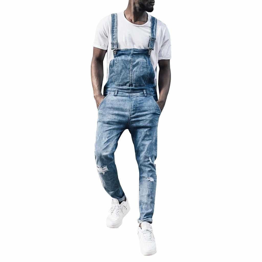 Moda erkek tulum pantolon Denim Casual Streetwear jartiyer tulum cepler erkek kot pantolon tulum Retro iş giysisi yeni stil