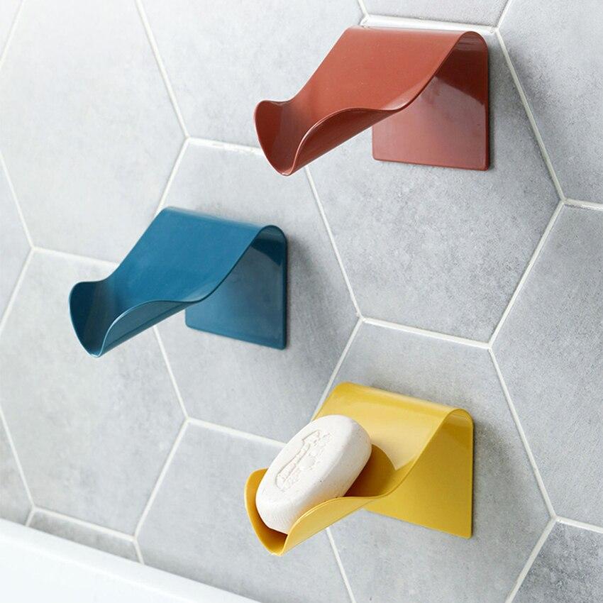 Self Adhesive Soap Dish Saver Holder Countertop Soap Drainer V-shape Soap Sponge Storage Holder For Bathroom Shower Kitchen