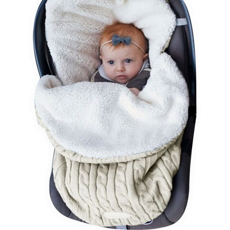 Baby Sleeping Bag Newborn Winter Autumn Warm  Infant Stroller Cotton Knitted Envelopes Blanket Unisex Fleece Sleep Sack 2