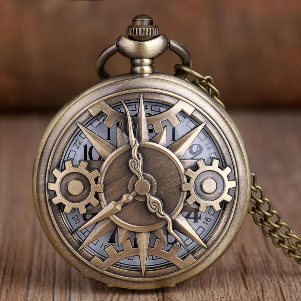 Steampunk Retro Hollow Gear Movement Quartz Pocket Watch Necklace Pendant Gift Chain Pocket Watches Mens Boys Gift