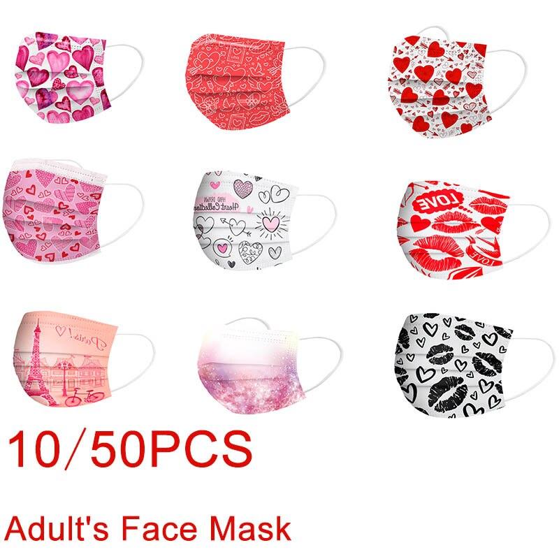 Маска для лица для взрослых 10-50 шт., одноразовая 3-слойная маска из нетканого материала с ушным крючком в форме сердца для Дня Святого Валенти...