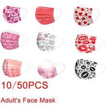 10-50 pces adulto rosto-máscara dias dos namorados descartável 3ply earhook coração impressão não-tecido mascarillas máscara anti-poeira
