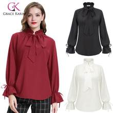 Grace Karin Women Vintage Ruffle Shirt Top Long Sleeve Bow Tie Blouses Tops Ladies Retro Steampunk Skirts Renaissance Costume(China)