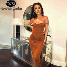 NewAsia 2 Layers Summer Dress Women Pleated Long Dress Sexy Spaghetti Straps Ruched Party Dress Brown Vestidos Robe Femme 2019(China)