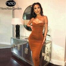 Женское плиссированное платье NewAsia, длинное двухслойное платье на тонких бретельках, вечерние платья коричневого цвета с рюшами, лето 2020