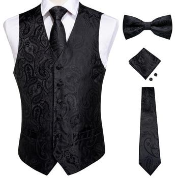 New Teal Green Paisley 100% Silk Formal Dress Vest Men Waistcoat Vest Wedding Party Vest Tie Brooch Pocket Square Set DiBanGu 16