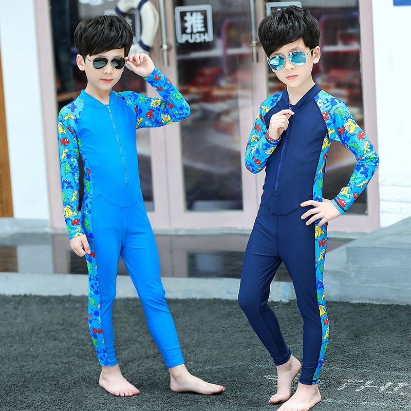 Sbart KID'S Swimwear One-piece Quick-Dry Men And Women Baby Bathing Suit Long Sleeve Sun-resistant Medium-small Big Kid Summer S