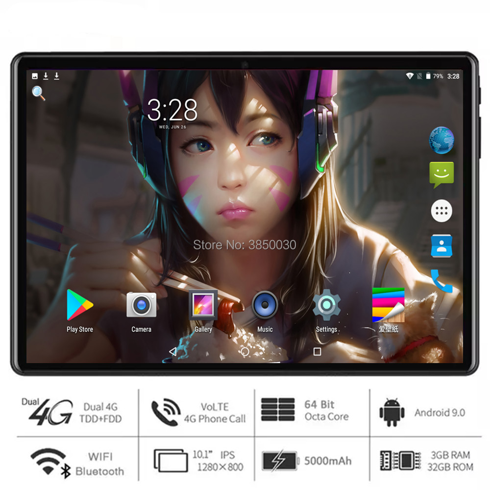 2020 New Ultra Slim 10 Inch Tablet PC Octa Cores Android 9.0 OS RAM 3GB+32GB ROM 2.5D Tempered Glass Android Tablet 10.1 GPS