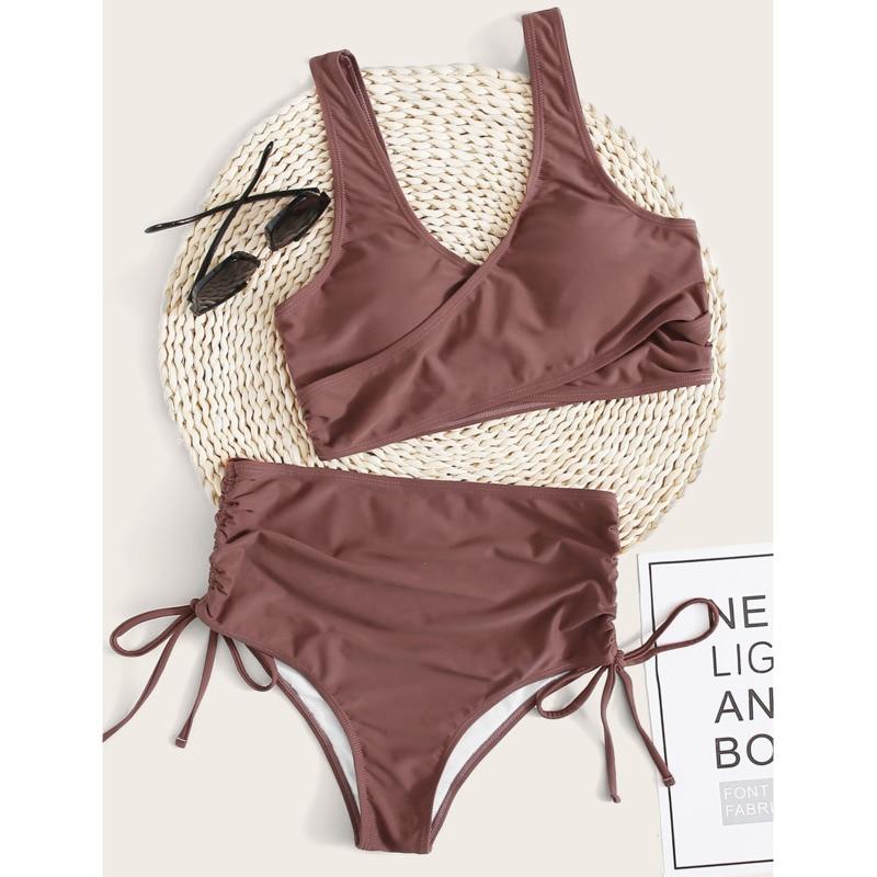 Bikini de cintura alta para mujer, traje de baño Sexy de red para playa, conjunto de Bikini con Push-Up, ropa de baño
