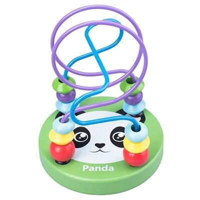 Деревянные игрушки Монтессори, деревянные круги, бусина, проволока, лабиринт, американские горки, Обучающие деревянные пазлы для мальчиков и девочек, детские игрушки 6+ месяцев - Цвет: panda