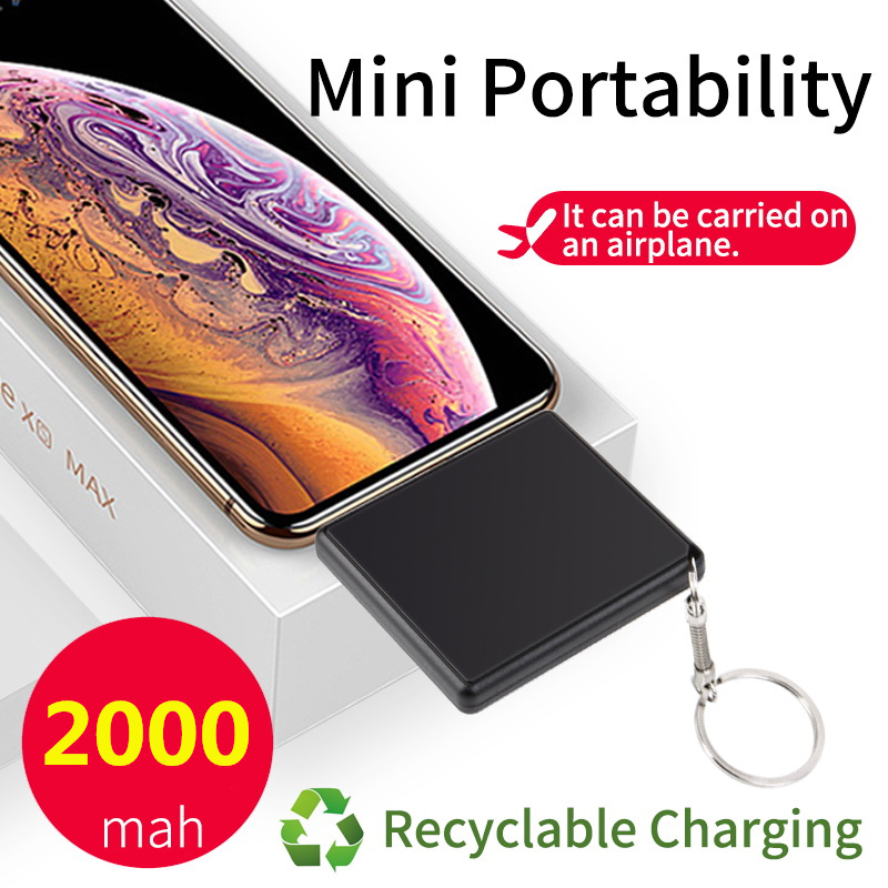 2000mAh Protable Travel Mini Power Bank For <font><b>iPhone</b></font> Xiaomi Huawei OPPO <font><b>Battery</b></font> Charger External 2 in 1 Plug Powerbank Charger image