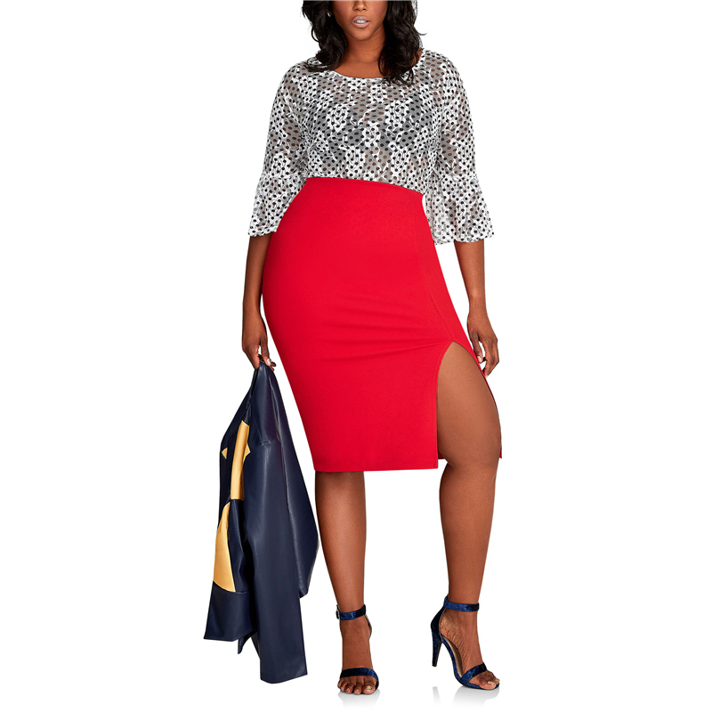 CACNCUT Big Size High Waist Bag Thigh Skirt Business Casual Skirt For Women 2019 Plus Size Bodycon Pencil Office Skirt Black 6XL 35