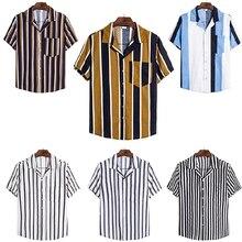 Новый 6 мужские хлопка и льна в полоску с коротким рукавом серии рубашка бизнес случайный формальный костюм мужской